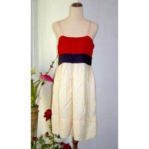 Country Road Empire Dress Size 12 Red Beige Sleeveless Linen Silk Blend